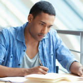 A student is learning in the library.